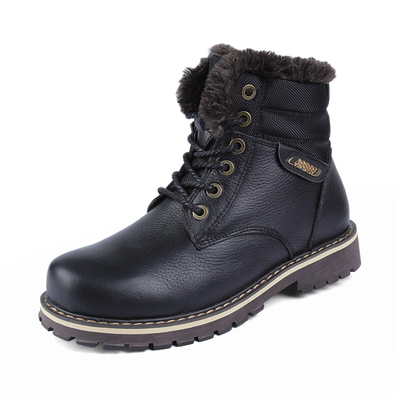 Winter Men Boots Work casual Boots Men Winter Shoes Male Rubber Snow Leather Ankle boots for men Warm Shoes With Fur shoes k4 zenvbnv winter leather men boots work casual boots men keep warm shoes male rubber snow cow suede leather ankle boots for men