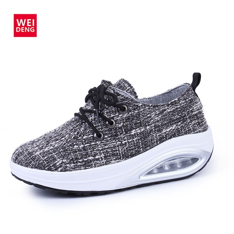 WeiDeng Autumn Women Breathable Sneaker Lace Up Shake Shoes Leisure Platform Thick Bottom Casual Fashion Canvas Air Sport  Shoes beango 2017 spring autumn casual women shoes lace up metal decor thick bottom leather shoe breathable travel loafers female