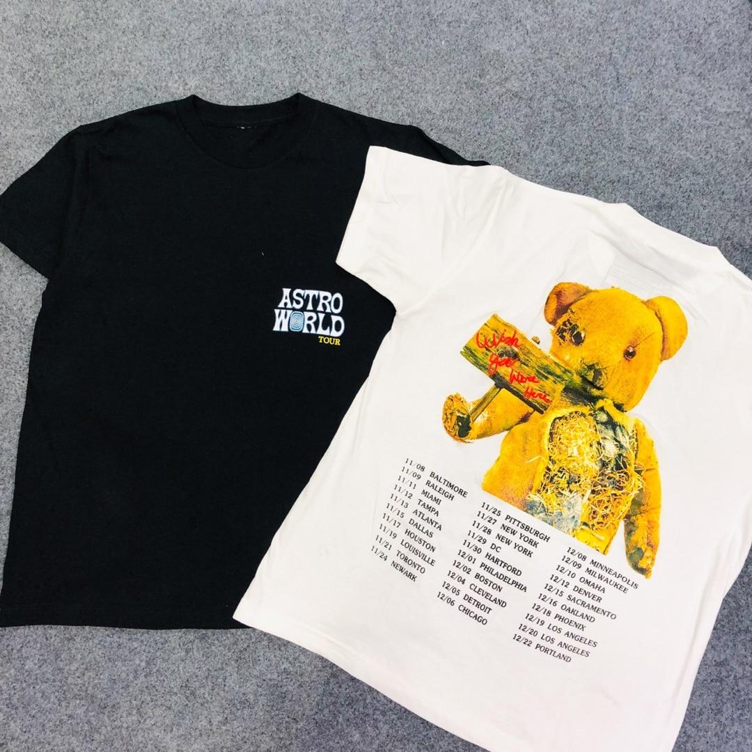 4b03db8e1e7c 2019 Travis Scott Astroworld Astroworld Bear Printed Women Men T shirts tees  Hiphop Streetwear Men Cotton