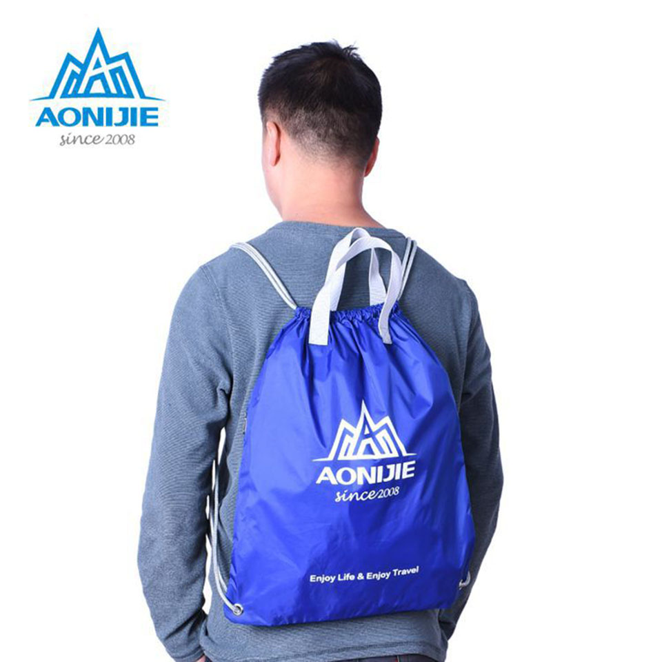 AONIJIE Simple Waterproof Drawstring Backpack Solid Tote Ultralight Bag  Yoga Fitness Gym Bag Sports Bags For Women Men-in Climbing Bags from Sports  ... 2d92ef18c01b9