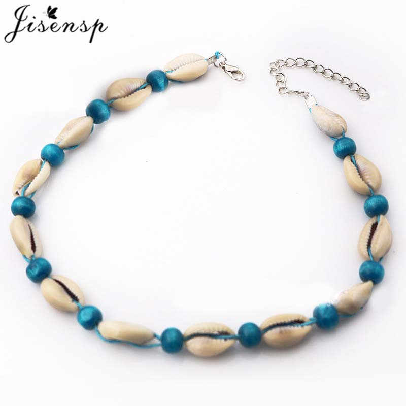Jisensp Bohemian Summer Beach Shell Choker Necklace Simple Bead Seashell Necklace Fashion Jewelry for Women Girls Birthday Gift