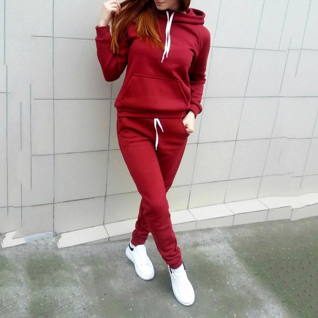 New 2 Piece Set Ladies Solid Tracksuit Women Hoodies Pant Clothing Set Warm Newest Clothes Women Set Top Pants Suit Female 2019