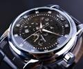 Winner Royal Diamond Design Silver Case Men Luxury Clock Male Business Leather Strap Wrist Watch Men Skeleton Automatic Watch
