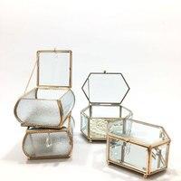 European Style Metal Glass Polygon Makeup Organizer Jewelry jewelry Small Storage Box Desktop finishing Gift Decor Container