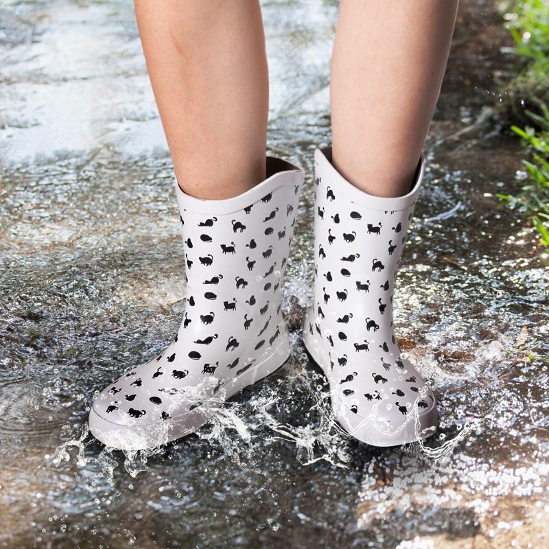 Pluie D'eau Bottes Caoutchouc Imprimer Rainboots Cat Dames