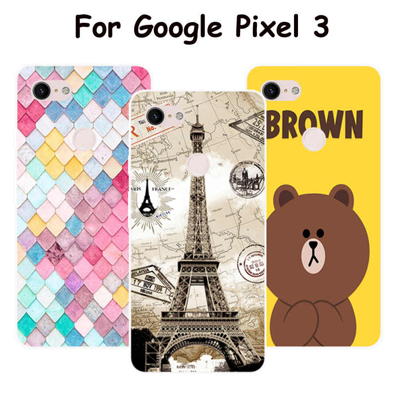 "5.4"" For Google Pixel 3 Case Cover For Google Pixel3 Cover Soft TPU Silicone Phone Case For Google Pixel 3 Funda Painted cartoon"