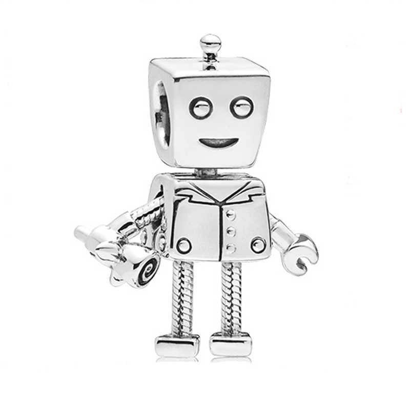 Ranqin 新ホットブレスレットチャームフィットパンドラジュエリーギフトシルバーペンダントジュエリービーズ人格ロボット象猫固定ゴールド