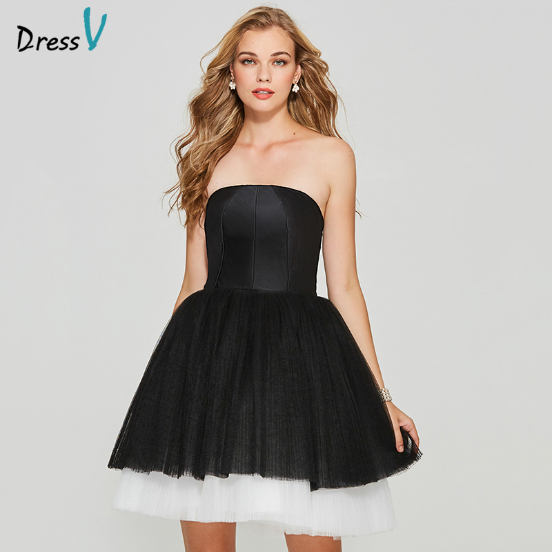 Dressv sample elegant homecoming dress ball gown strapless zipper up short mini tulle homecoming&graduation dresses
