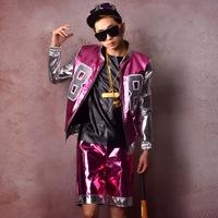 Men Leather Baseball Jacket 2 Sets (jacket+shorts) Male Fashion Show Hip Hop Coat Stage Dancer Singer DJ Clothes Costumes