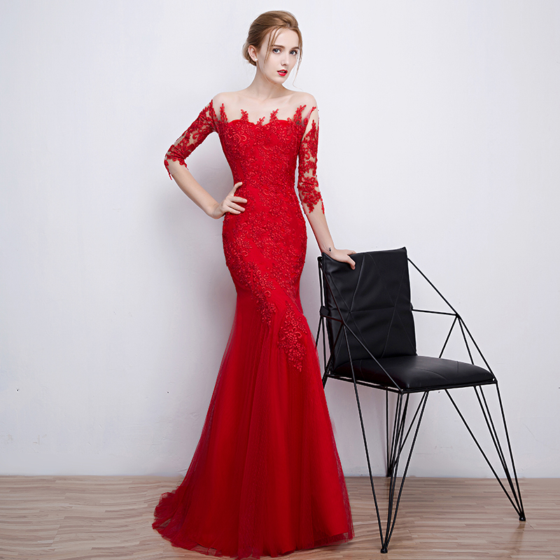c5ad90134f7 Long Red Sexy Mermaid Appliques Beading Evening Ball Gowns Dresses  Communion Formal Women Dresses Custom Plus Sizes 2 28-in Evening Dresses  from Weddings ...