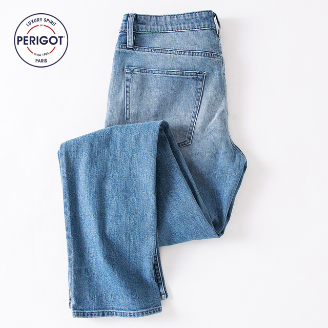 72912066b15 PERIGOT PGM1709A01 New Arrival Spring Autumn Winter Men s Brief Brand Jeans  Male Fashion Straight Cotton Pants 28-34