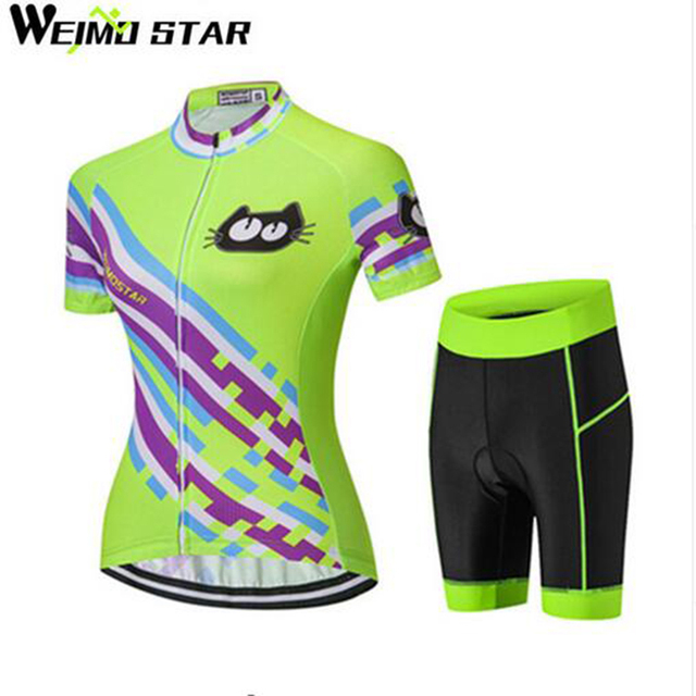 84be03718 WEIMOSTAR Breathable Polyester Women Cycling Jersey Shorts Set MTB Bike  Clothing Clothes Ropa Ciclismo Cat Girls