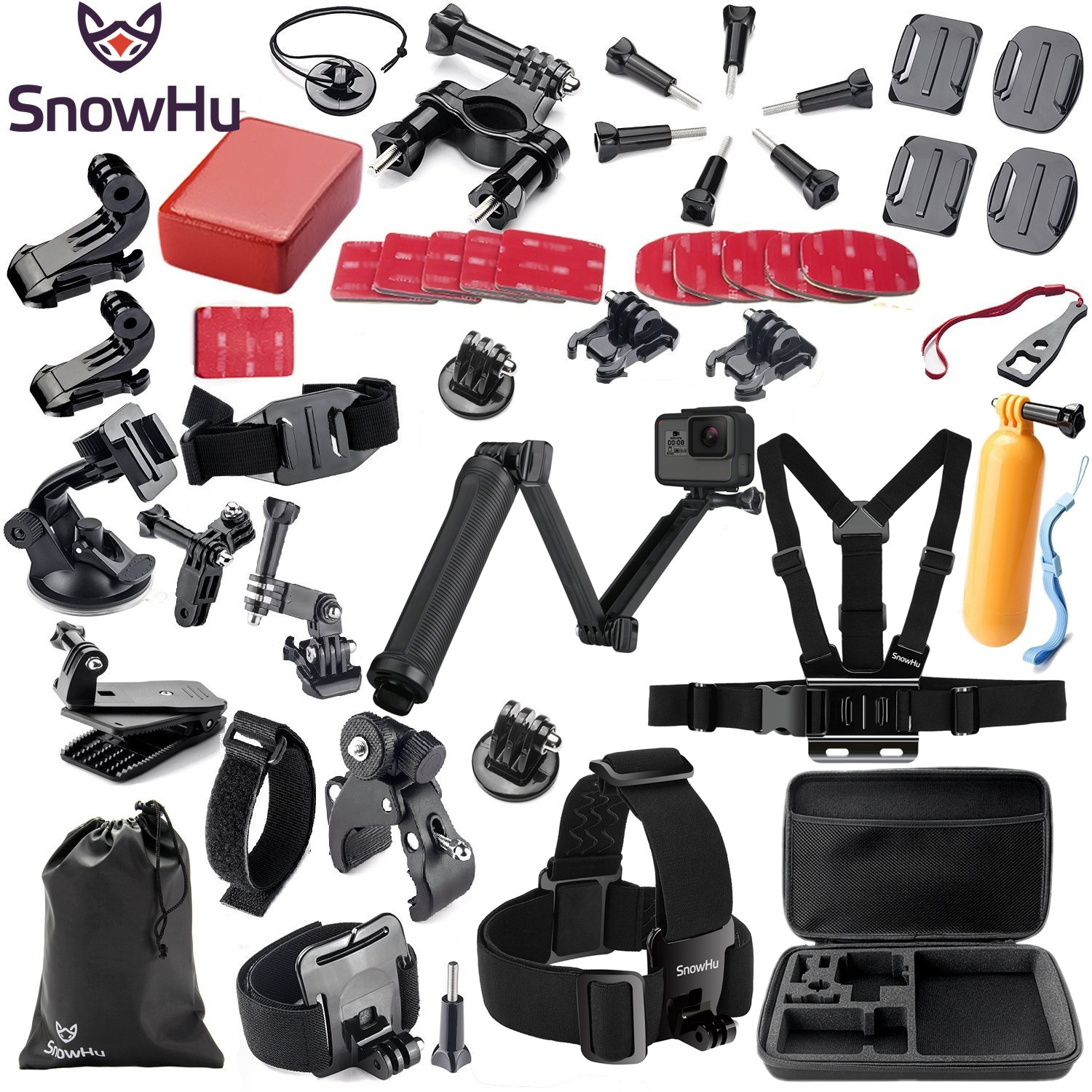 SnowHu for Gopro Tilbehør sett for go pro hero 7 6 5 4 3 kit 3-veis selfie stick for Eken h8r / for xiaomi for yi EVA GS02