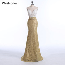 Real Picture High Quality Gold Lace Mermaid Evening Dresses Long For Women Prom Dress Free Shipping vestido de festa 2019