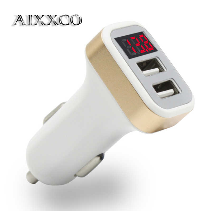 Aixxco Usb Autolader 5V 2.1A Met Led Display Universele Dual Usb Car Charger Voor Xiaomi Samsung S8 Iphone X 8 Plus Tablet
