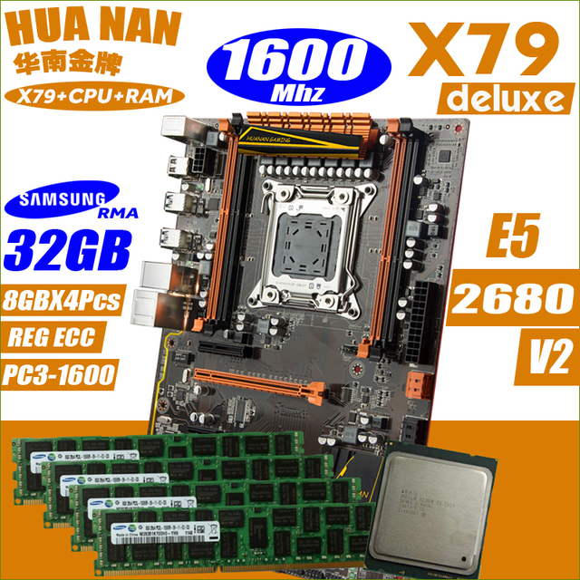 Deluxe X79 HUANANZHI motherboard CPU combos processor Xeon E5 2680 v2 32GB RAM 1600Mhz DDR3 Memory all tested