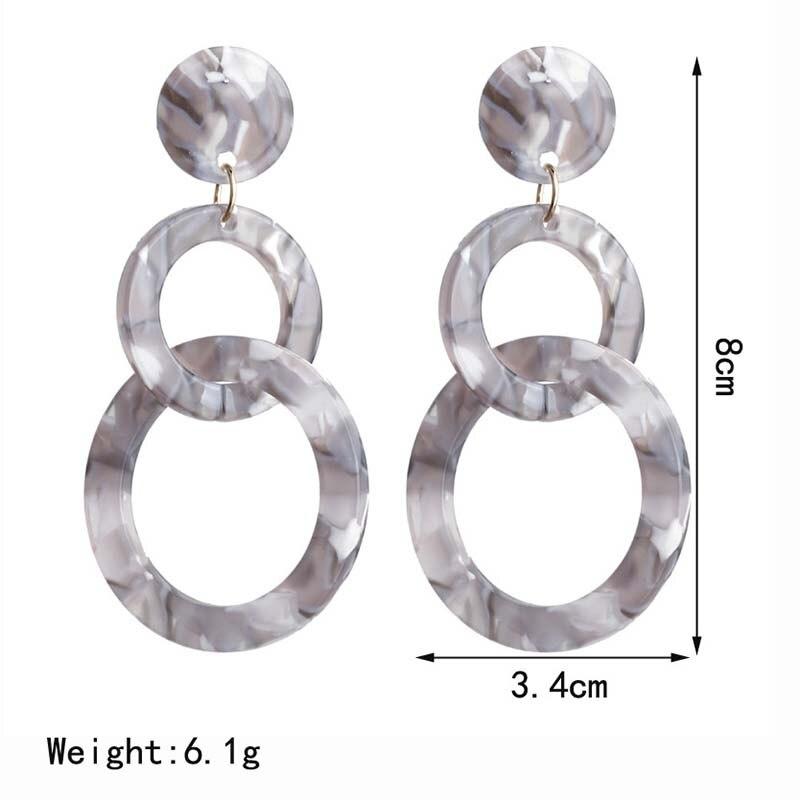 Acrylic Drop Dangle Bohemian Earrings 19 Big Statement Earrings for Women Resin Oval Square Geometric Boho Earrings Jewelry 4