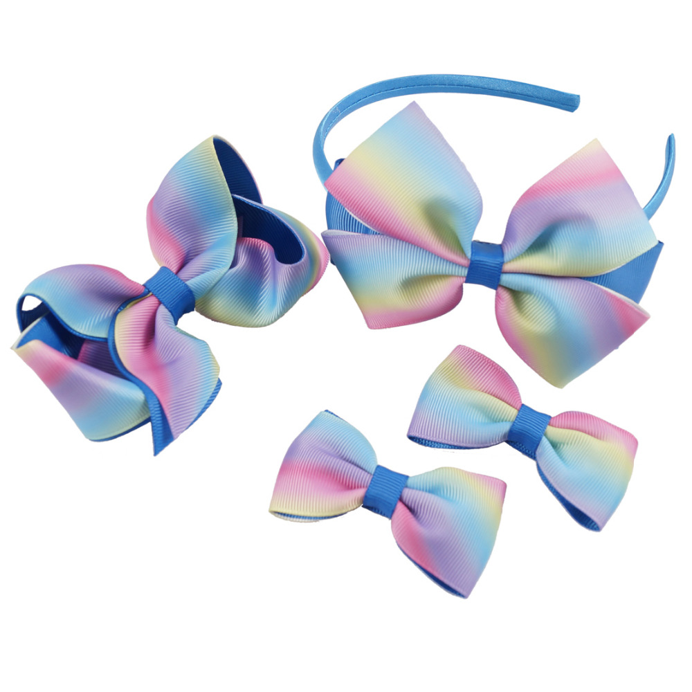 4.5 Inch Rainbow Hairband Set Girls' Grosgrain Ribbon Hairbow Gradient Colors Hairclips Handmade Hairbands Kids' Cute Headdress 10pcs lot high quality hair band with grosgrain ribbon flower for girls handmade flower hairbow hairband kids hair accessories