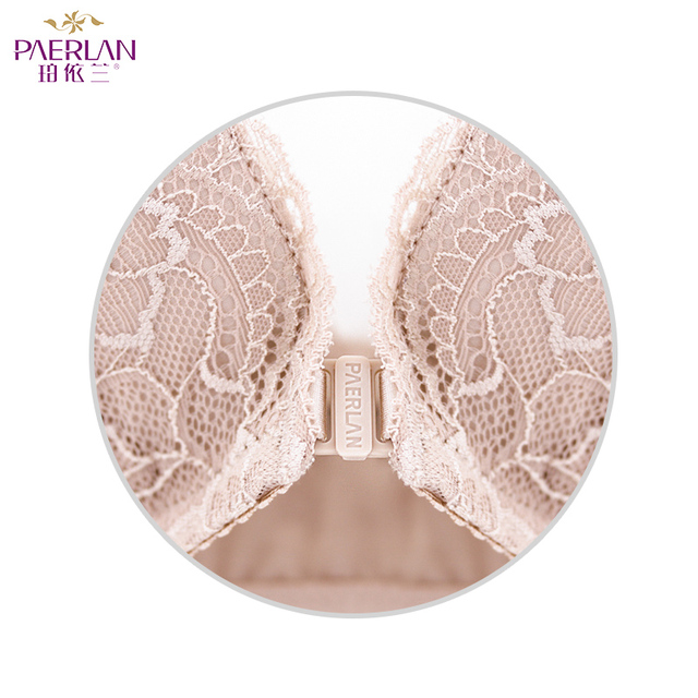 PAERLAN Wire Free Front Closure of the Women bra Floral Lace one-piece small chest Push Up Seamless sexy underwear Bow 3/4 Cup 5