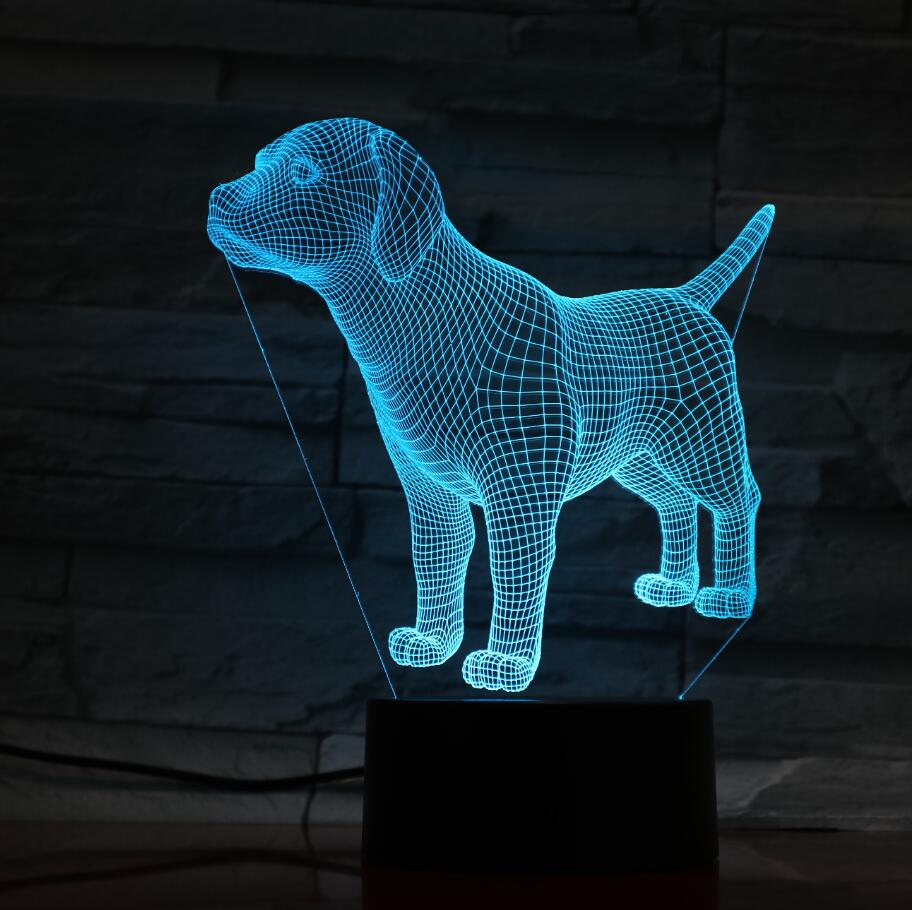 Cute Puppy Dog 3D Optical Illusion Table Light Mood Lamp Touch Remote Control 7 Colors Home Light Kids Gift Free Dropship 3D1412