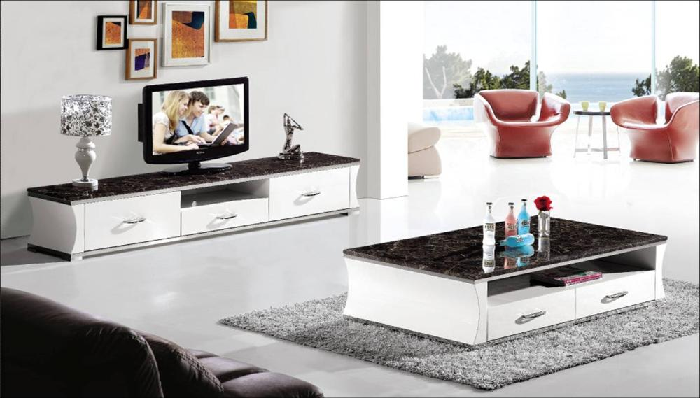 Modern Marble And Wood Furniture Set For Living Room Coffee Table And Tv Cabinet 2 Piece Set