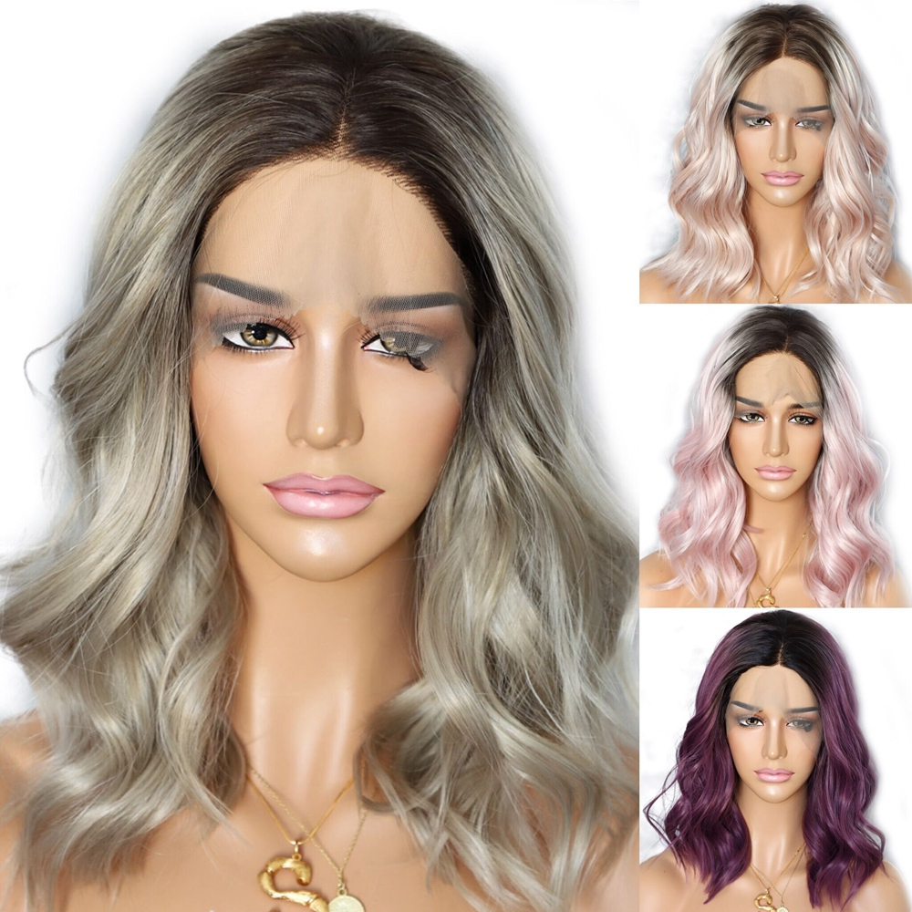 Lvcheryl Short Synthetic Lace Front wigs Dark Roots To Ombre Brown Natural Wave Heat Resistant Hair
