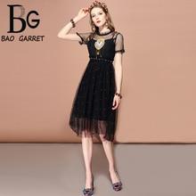 Baogarret 2019 Fashion Runway Spring Summer Dress Womens Vintage Black Mesh Sequined Beading A Line Midi Elegant