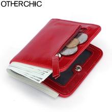 Otherchic натуральная кожа женщин короткий тонкий кошельки небольшой бумажник на молнии карман для монет кошелек женский Кошельки Мини-зажим для денег 7N03-26