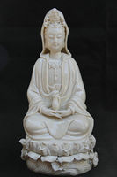 27CM Chinese Dehua White Porcelain Sacred Guan Yin Kwan yin Vase Goddess Statue