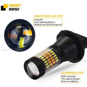 Image 3 - 2x T20 7440 W21W 96 SMD 3014 araba Led ışık gündüz farı + dönüş sinyali çift modlu Canbus DRL LED sis dış işıklar