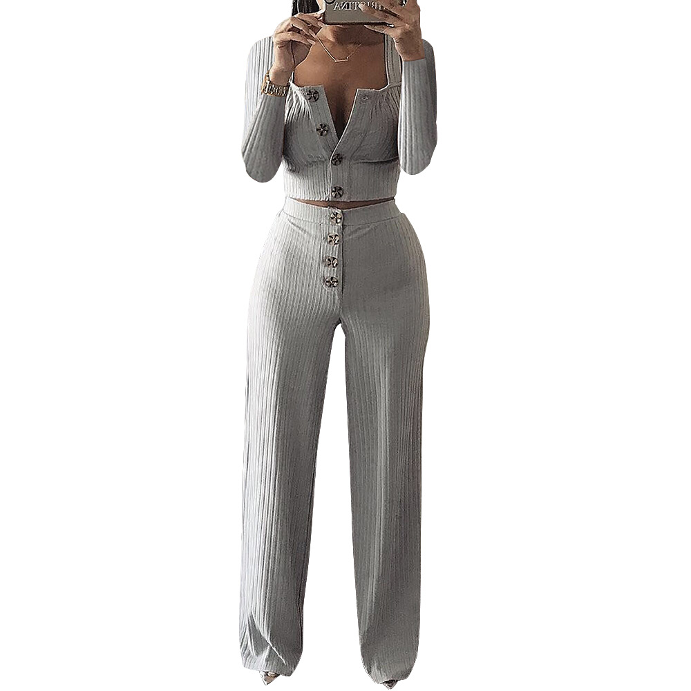 2018 Autumn Winter New Women's Sexy Knitted Rib Crop Top & Solid Wide Leg Long Pants Casual 2 Piece Set Suits