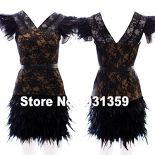 Robe De Plumes Black Lace V-ausschnitt Mini Kurze Maß Abschlussball-partei-kleid Vestido De Festa Design CD91892 Straußfederkleid