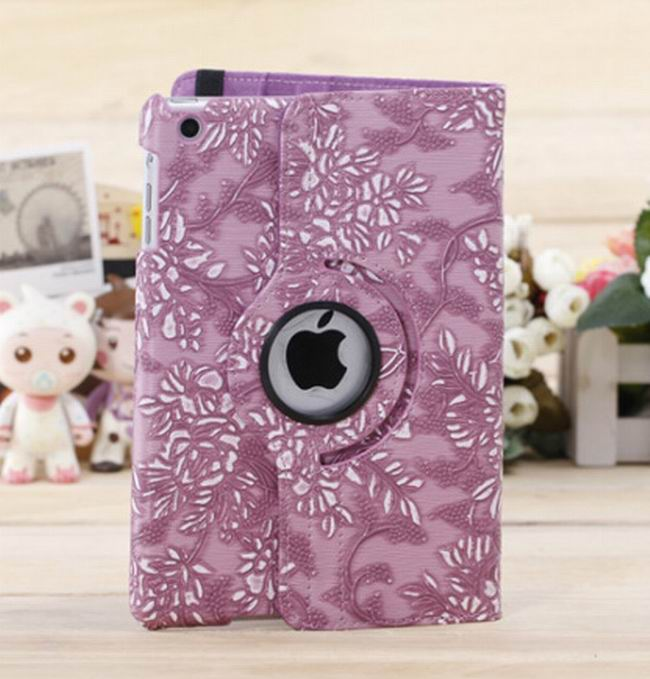 360 Degree Rotating Grape Grain Pattern Cover Stand Flip Leather Cover Case For Ipad Mini 1