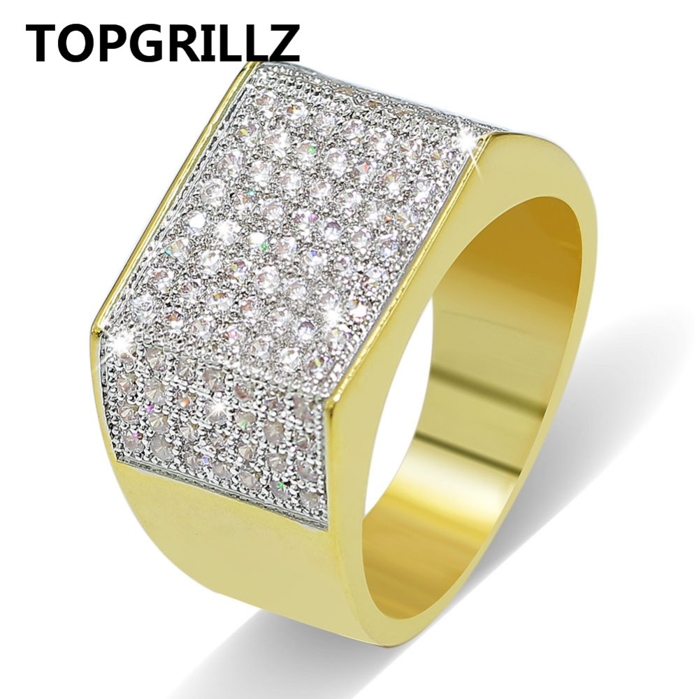 TOPGRILLZ Hip Hop Bling Rings All Iced Out Real Micro Pave CZ AAA Cool Mens Women