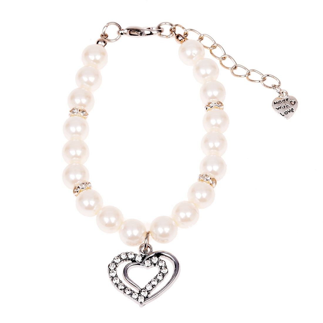 Heart Pendant White Faux Pearl Decor Pet Dog Puppy Collar Necklace S