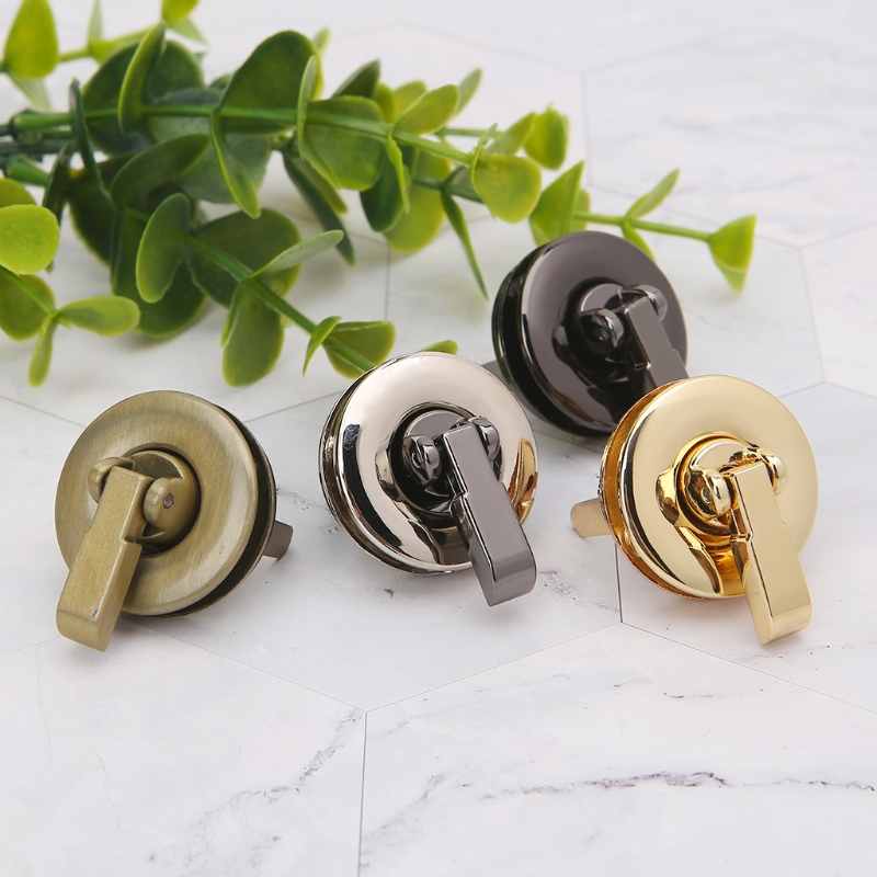 THINKTHENDO Metal Round Shape Clasp Turn Lock Twist Lock For DIY Handbag Bag Purse Hardware