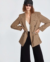 New Style Double Breasted Suit Jacket Women New Fashion Suit Casual Printing Dyeing Lattice Jacket Sexy Autumn 2019