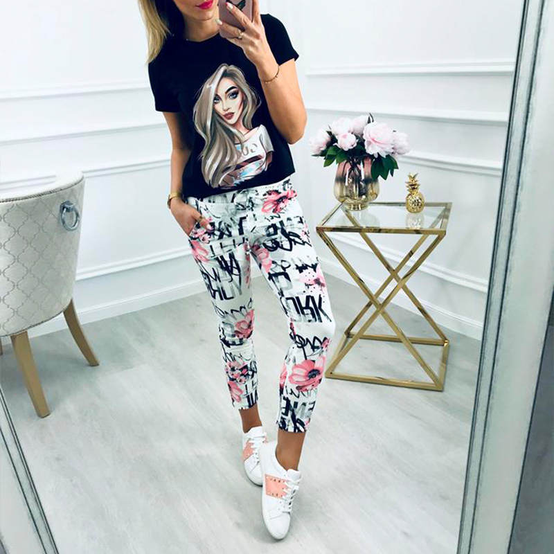 2019New Elastic Printed Pencil Pants Women 39 s Pants Increased Size Tight Pants S 3xl in Pants amp Capris from Women 39 s Clothing