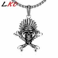 LKO Top Chất Lượng Punk Thép Không Gỉ Mặt Dây Chuyền Skull Head Ai Cập Pharaoh Men Chain & Necklaces Cậu Bé Treo Đồ Trang Sức Tốt Nhất Quà Tặng