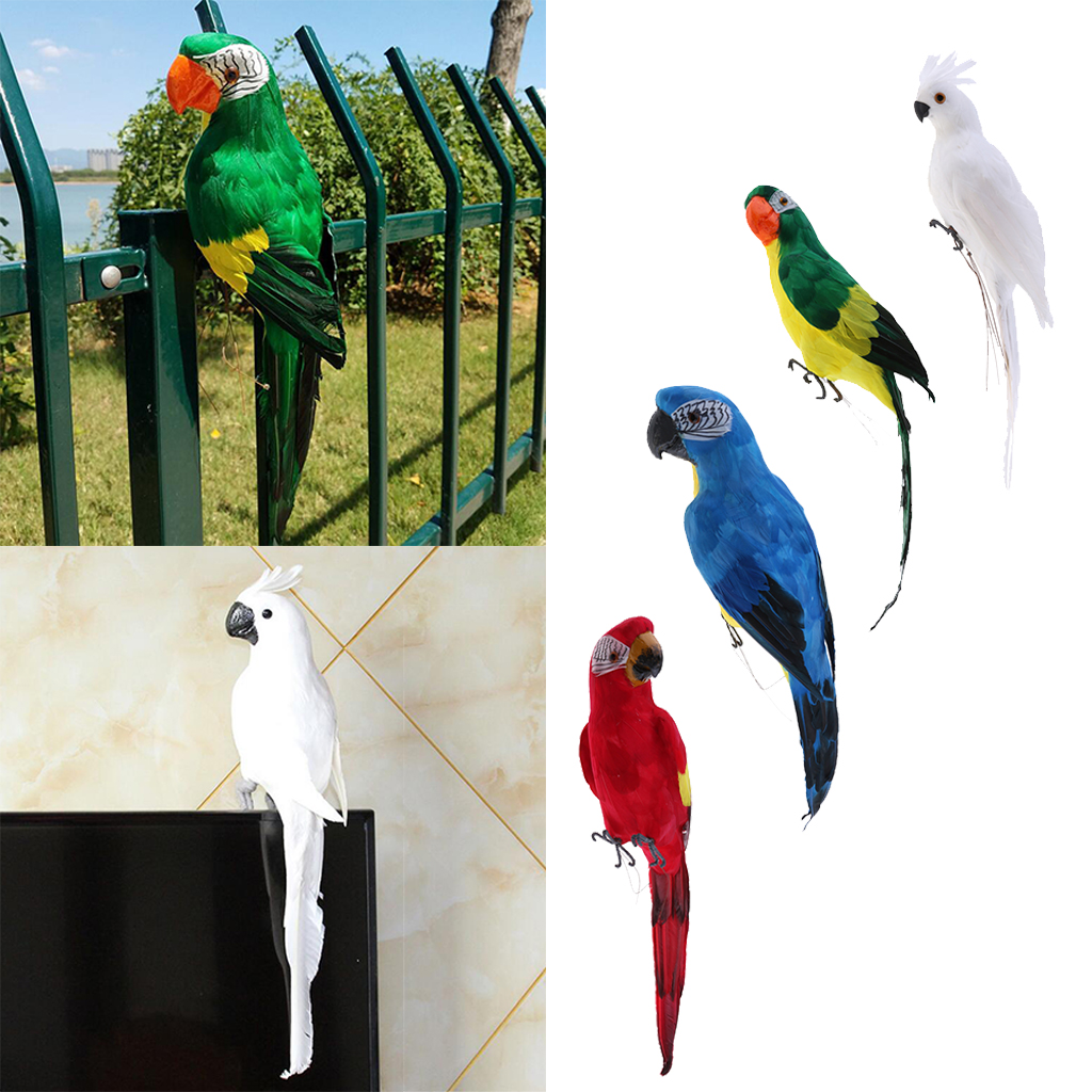 Set of 4 Feathered Realistic Parrot Home Garden Birds Decor Ornament