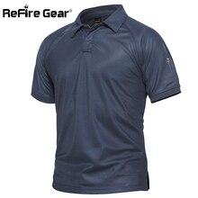 Refire gear мужская Военная Рубашка поло дышащая армейская тактическая мужская темно-синяя быстросохнущая рубашка поло с коротким рукавом S-5XL