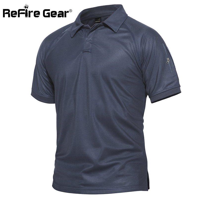 ReFire Gear Men Military   Polo   Shirt Breathable Army Combat Tactical   Polo   Male Navy Blue Quick Dry Short Sleeve   Polo   Shirts S-5XL