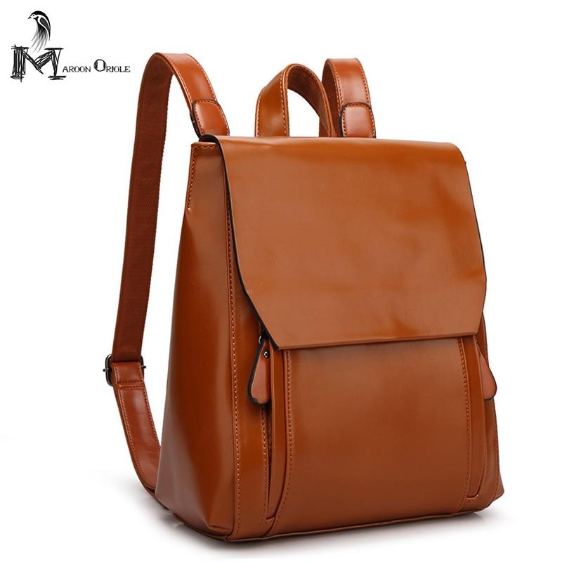 2017 Wax Leather Backpacks Women PU Leather Bag College Girls School Bag Travel Bags Waterproof Mochila