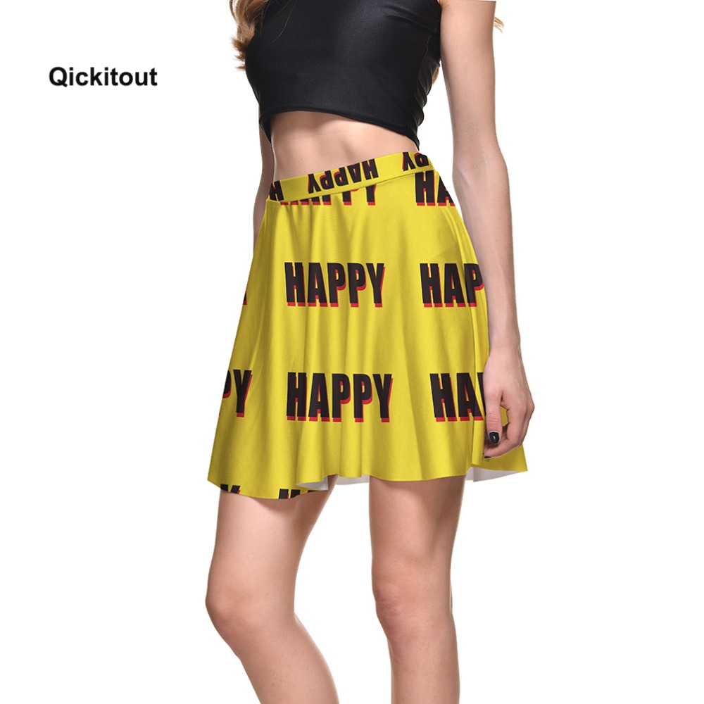 affffe89c9 2018 Summer Women Yellow Skirts HAPPY Printed High Waist Skirts Girl Pleated  Casual Mini Fashion Skirt Plus Size S XXXXL-in Skirts from Women's Clothing  on ...