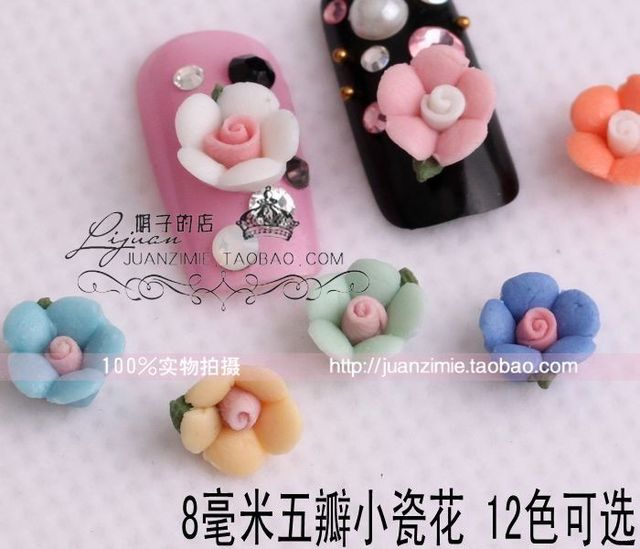 10 8 mm small porcelain flowers ceramic flower nail art applique false nail chu80 -