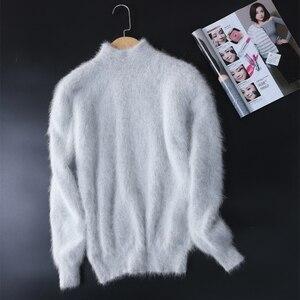 Image 3 - Nieuwe echte nerts kasjmier trui vrouwen 100% nertsen kasjmier truien met coltrui kraag gratis verzending JN465