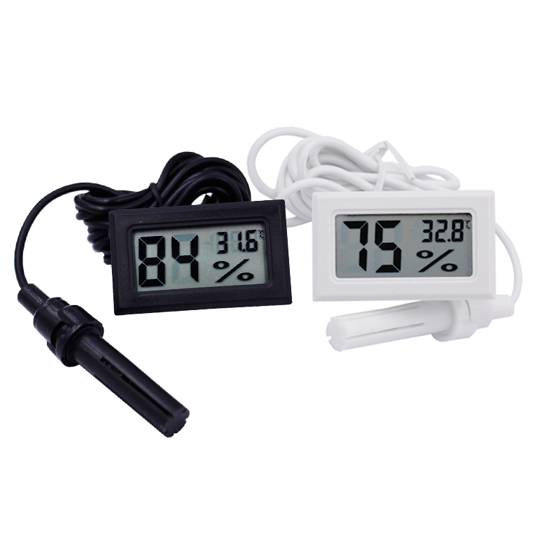 Digital LCD Thermometer Hygrometer Temperature humidity Gauge with Probe for Vehicle Reptile Terrarium Fish Tank Refrigerator home mini lcd digital display refrigerator electronic temperature meter gauge thermometer temp sensor with probe without battery