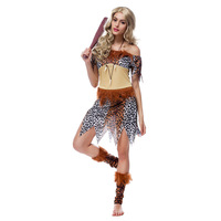 Indians Savage Costumes Adult Women Forest Indigenous People Leopard Clothing 2016 Halloween Costumes Cosplay Party Role