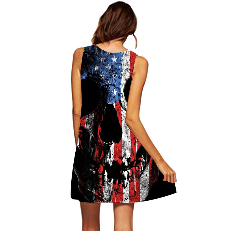 810eb94fc7c 3D American Flag Skull Dress Women Sleeveless O Neck A Line Summer Boho  Dress Plus Size Clothing Short Beach Party Dresses-in Dresses from Women s  Clothing ...