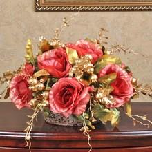 1 комплект искусственный цветок «Роза» букет Европейский шар круглый золотистый керамический Ваза свадебный дом магазин Декоративные искусственные цветы 6 видов цветов